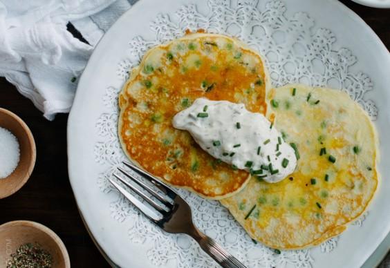 Pea Pancakes With Tzatziki