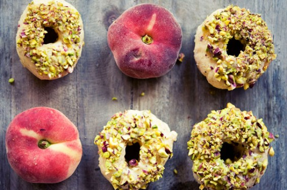 Peach Donuts with White Chocolate and Pistachios