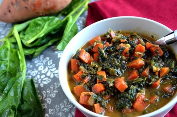 African Peanut Stew with Sweet Potatoes and Spinach via Veggie with a ...