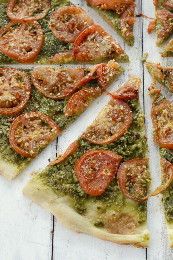 Dairy-Free Pesto and Roasted Tomato Pizza