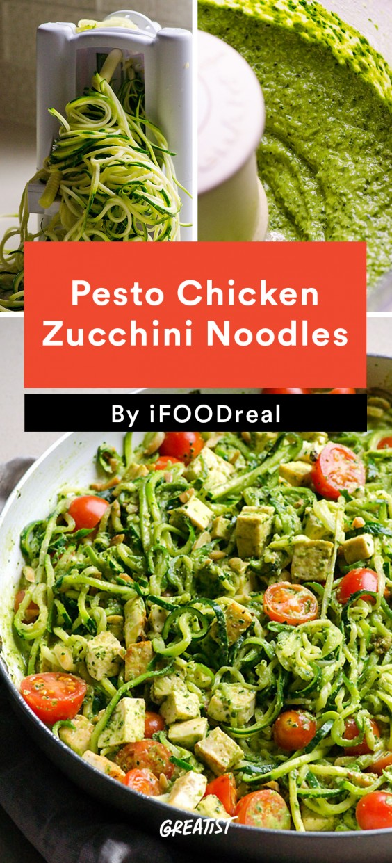 Pesto Chicken Zucchini Noodles