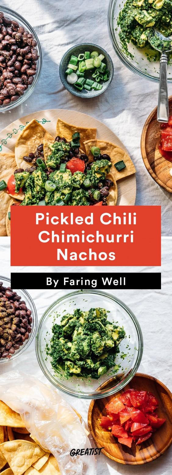 5 min prep vegan dinner: Chimichurri Nachos