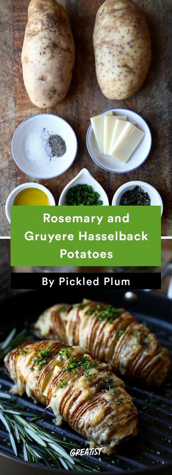 Rosemary and Gruyere Hasselback Baked Potatoes