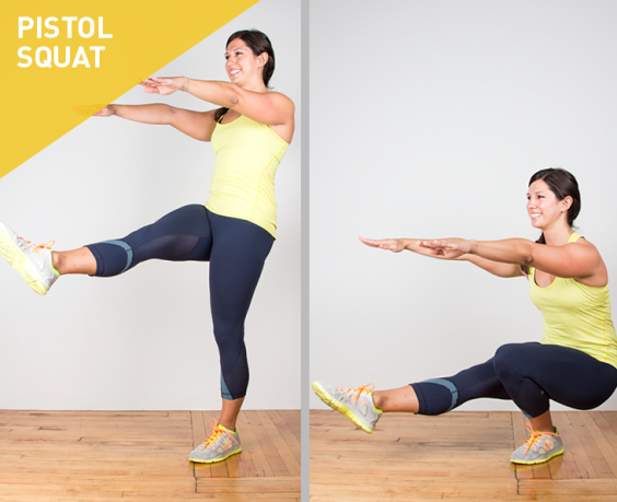 The pistol squat is an advanced lower body exercise that also engages the core. This one-legged movement requires a significant amount of strength, flexibility, and balance.