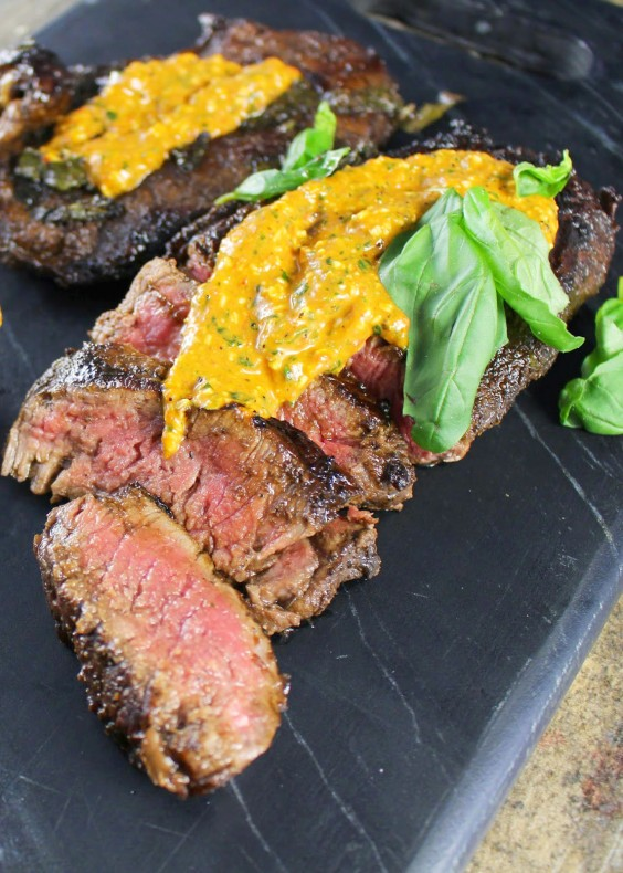 Whole30 Dinner Recipes: Balsamic and Basil Marinated Steak with Roasted Red Pepper Pesto