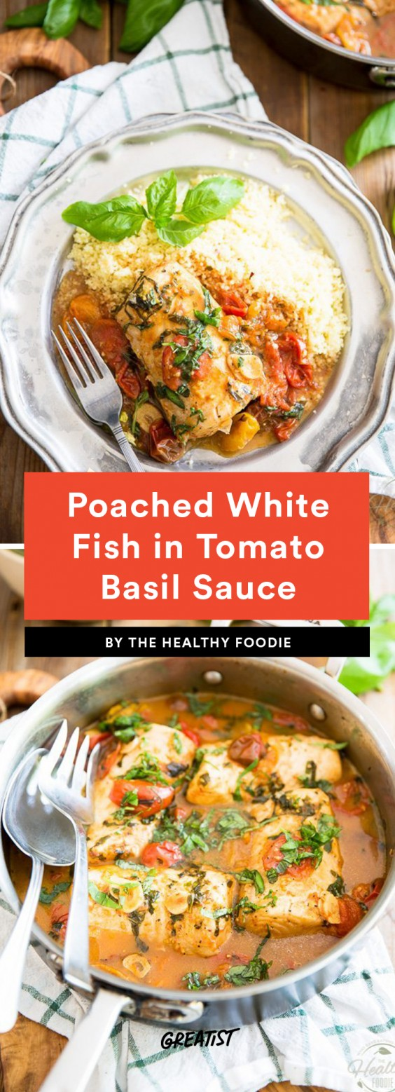 Poached White Fish in Tomato Basil Sauce