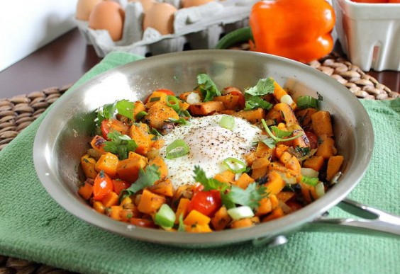 Sweet Potato Hash With Tomatoes and Kale