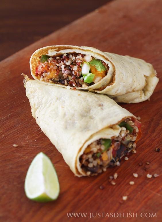 Quinoa Egg Wrap Breakfast Burritos
