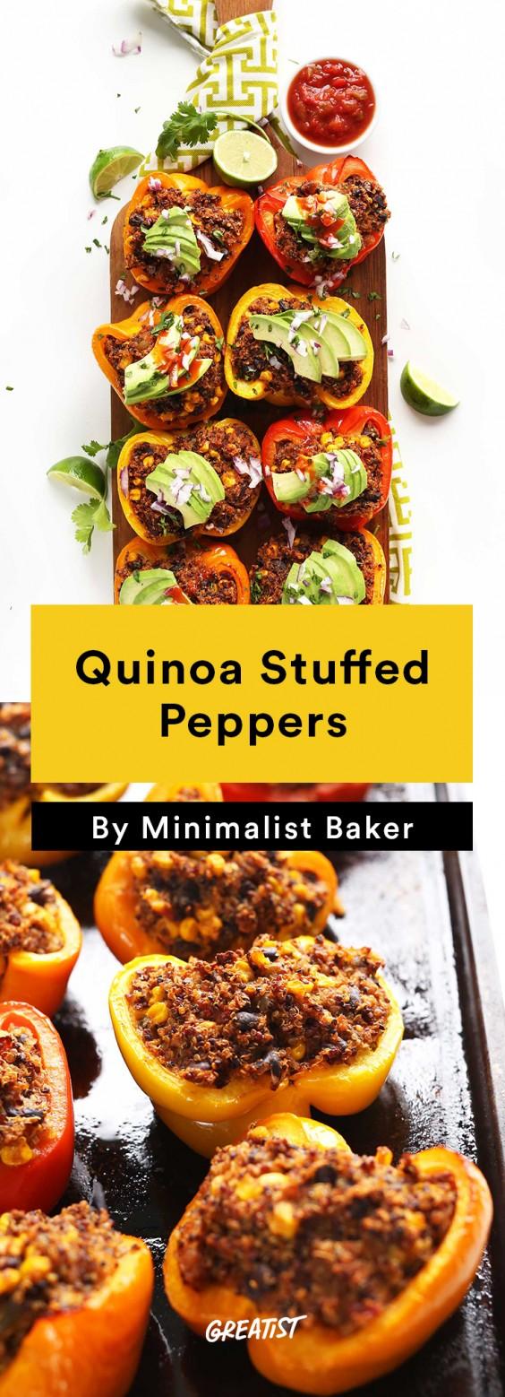 one tray veg din: quinoa stuffed peppers