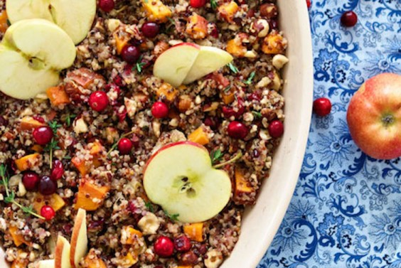 Quinoa Stuffing with Apple, Sweet Potato, and Hazelnuts