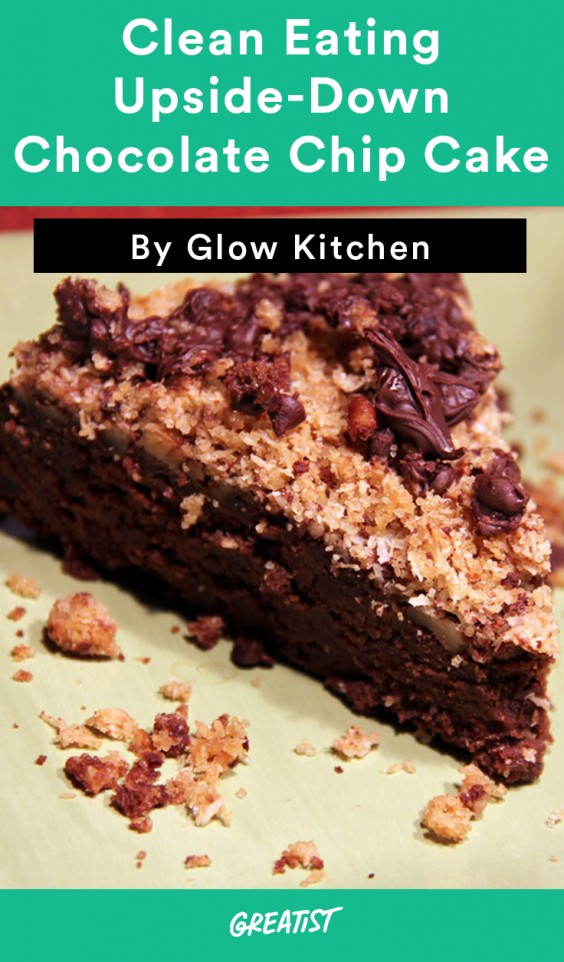 Clean Eating Upside Down Chocolate Chip Cake
