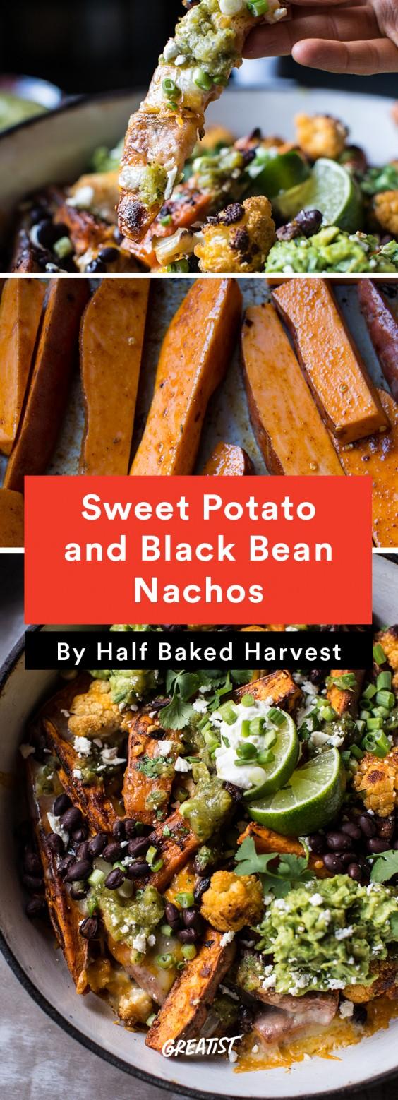 Sweet Potato and Black Bean Nachos With Green Chile Salsa