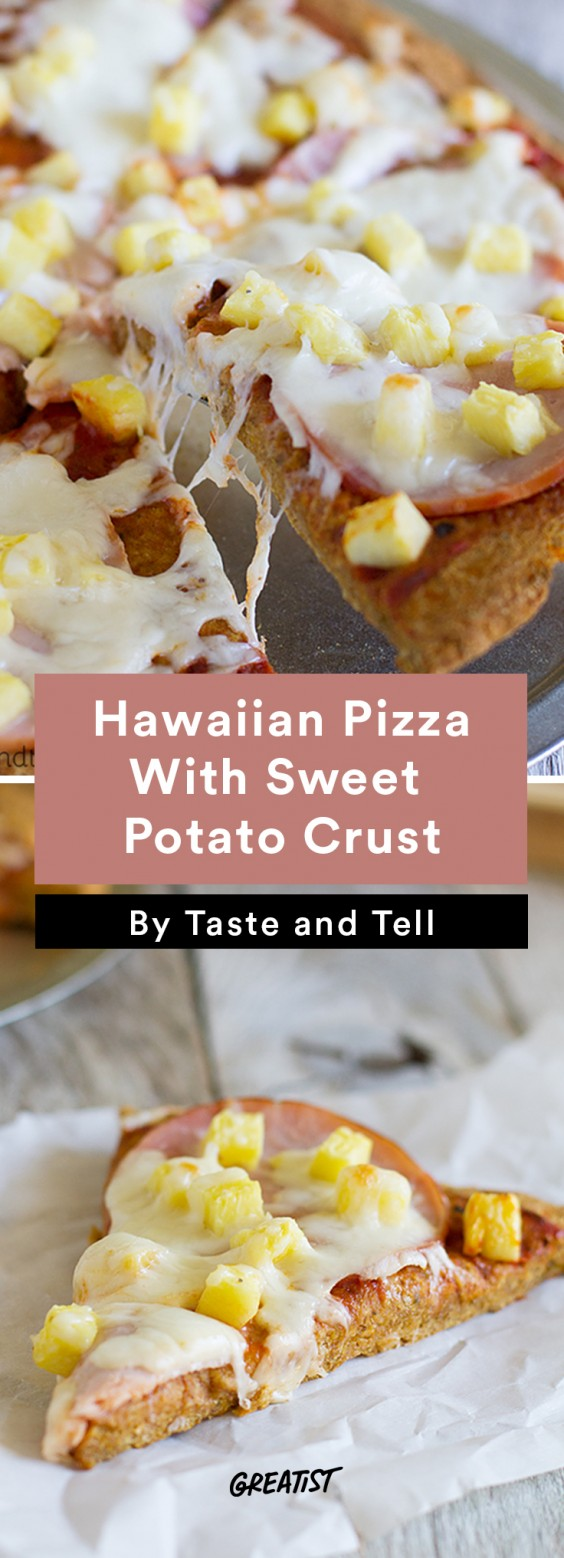 Hawaiian Pizza With Sweet Potato Crust