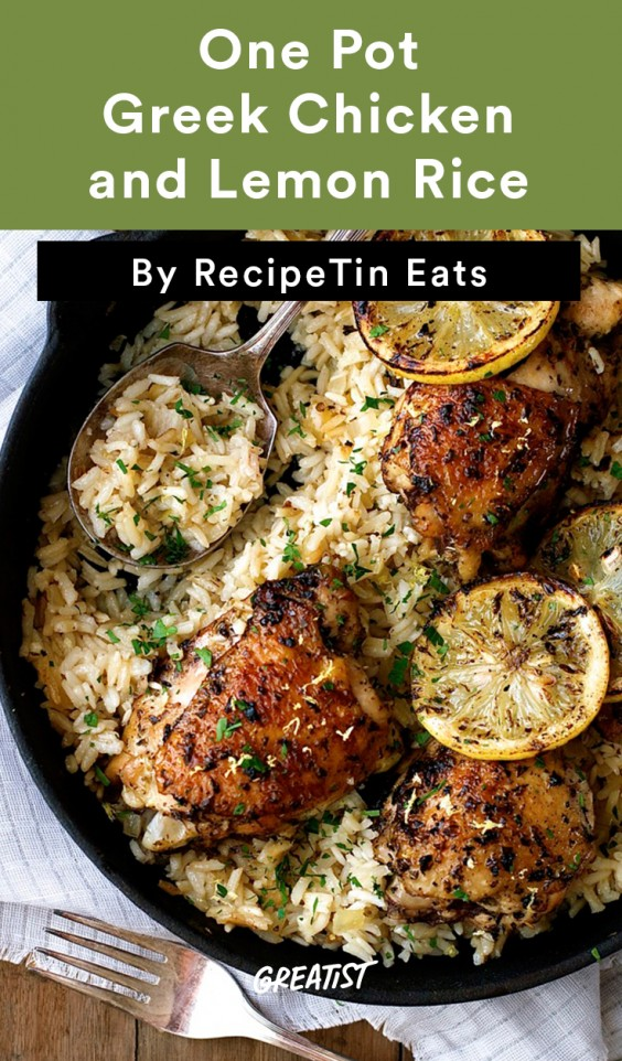 One Pot Greek Chicken and Lemon Rice