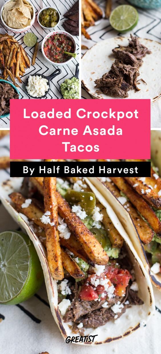 Loaded Crockpot Carne Asada Tacos