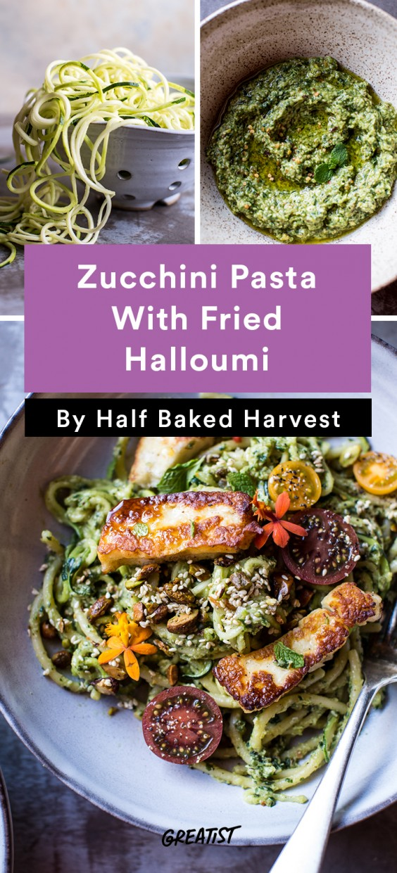 Comfort food recipes that are actually healthy greatist 2 green goddess zucchini pasta with fried halloumi forumfinder Images