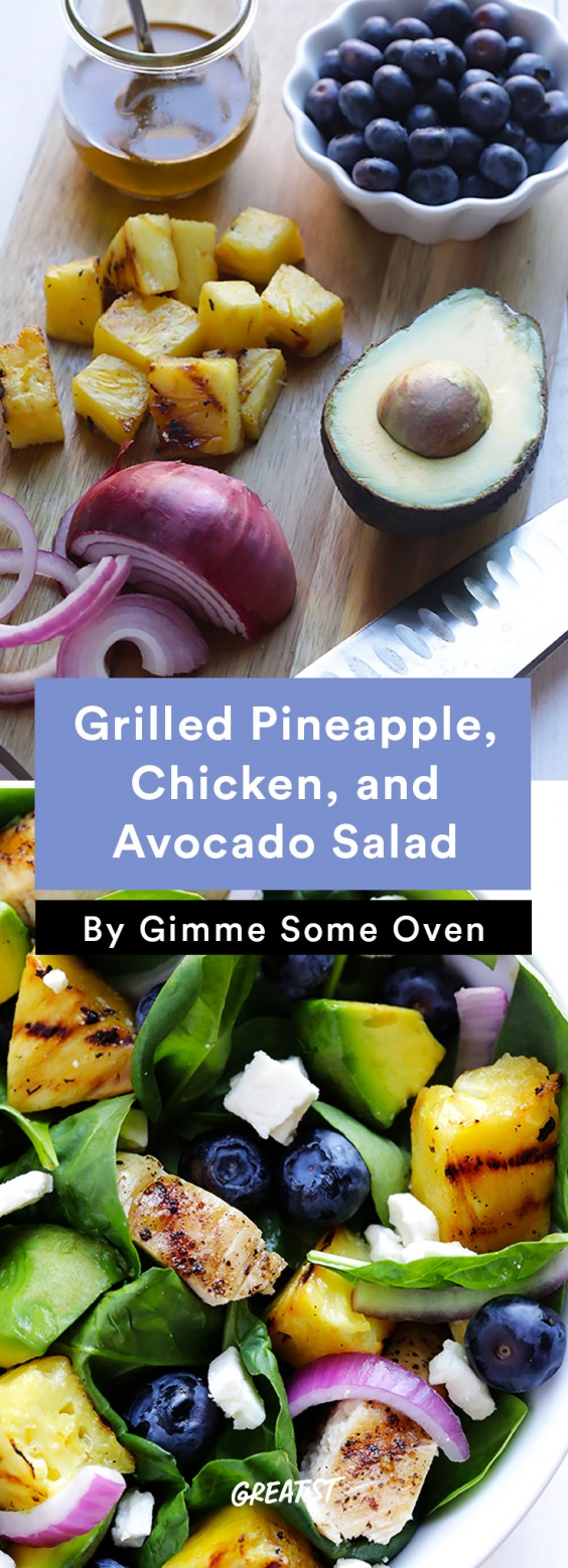 Grilled Pineapple, Chicken, and Avocado Salad