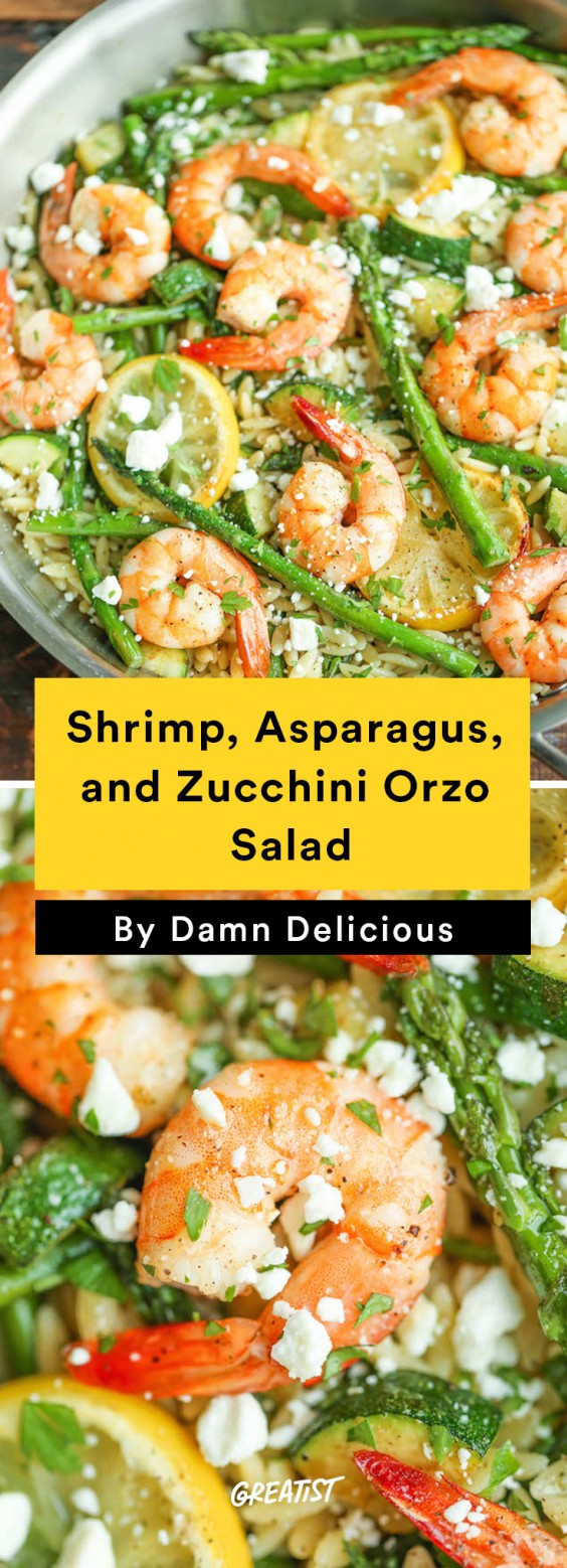 Shrimp, Asparagus, and Zucchini Orzo Salad