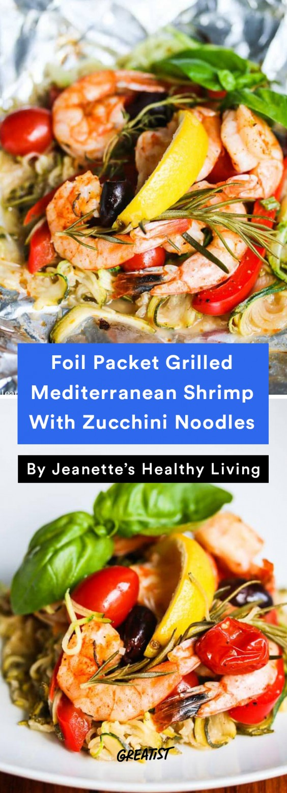 Foil Packet Grilled Mediterranean Shrimp With Zucchini Noodles