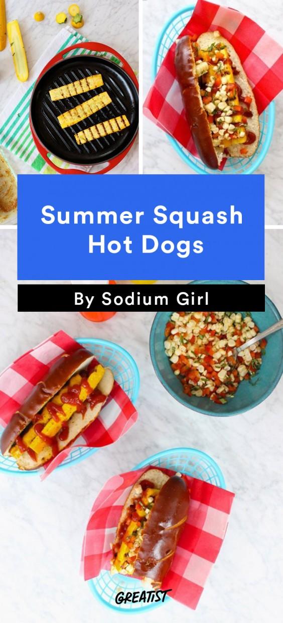 Summer Squash Hot Dogs