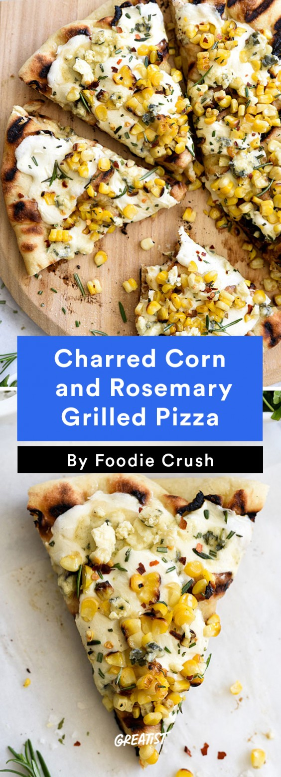 Charred Corn and Rosemary Grilled Pizza
