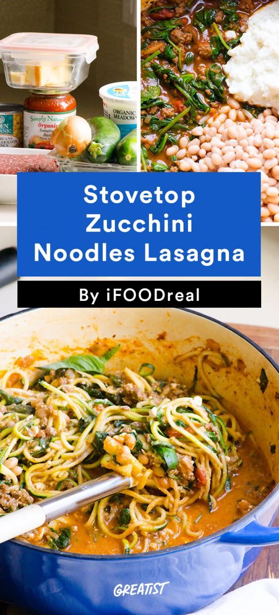 Stovetop Zucchini Noodles Lasagna