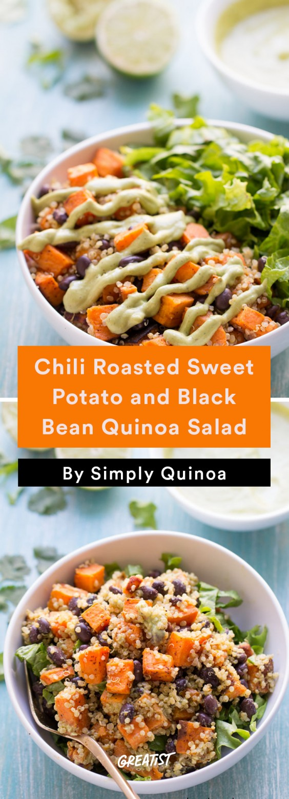 With chili-roasted sweet potatoes, earthy black beans, crunchy lettuce ...