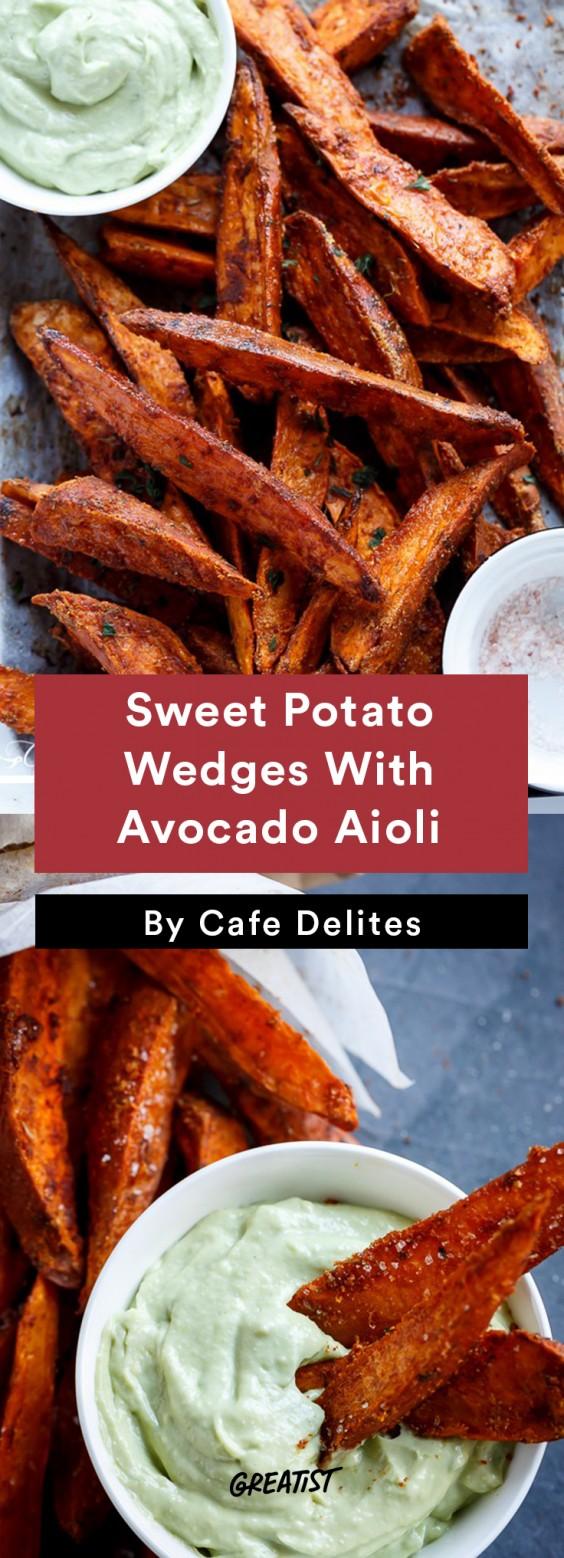 Sweet Potato Wedges With Avocado Aioli