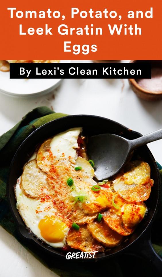 Tomato, Potato, and Leek Gratin With Eggs
