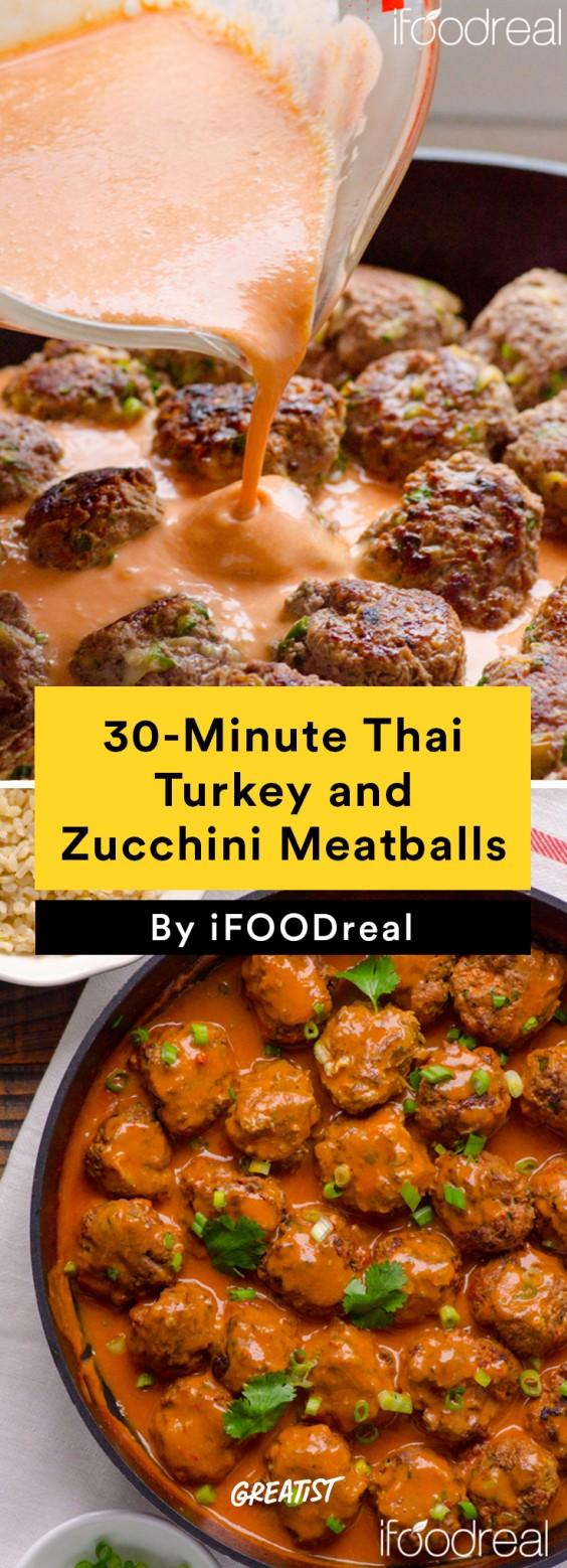 30-Minute Thai Turkey and Zucchini Meatballs