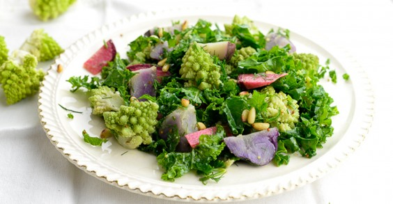 Romanesco and Purple Potato Salad With Dill Dressing