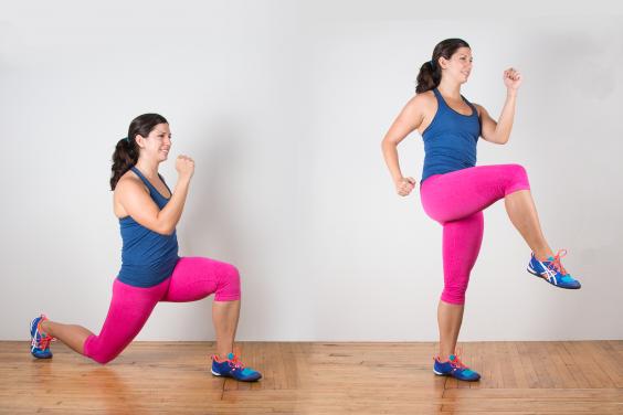 Reverse Lunge Knee-Up