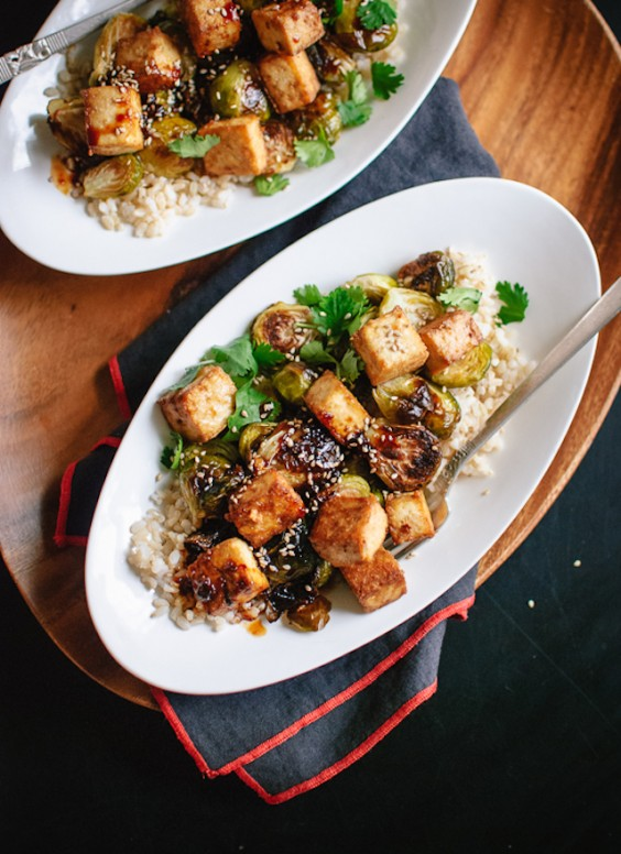 Tofu Recipes: Roasted Brussels Sprouts and Honey Baked Tofu