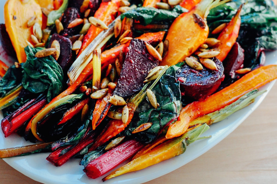 Roasted Vegetable Salad with Garlic Dressing