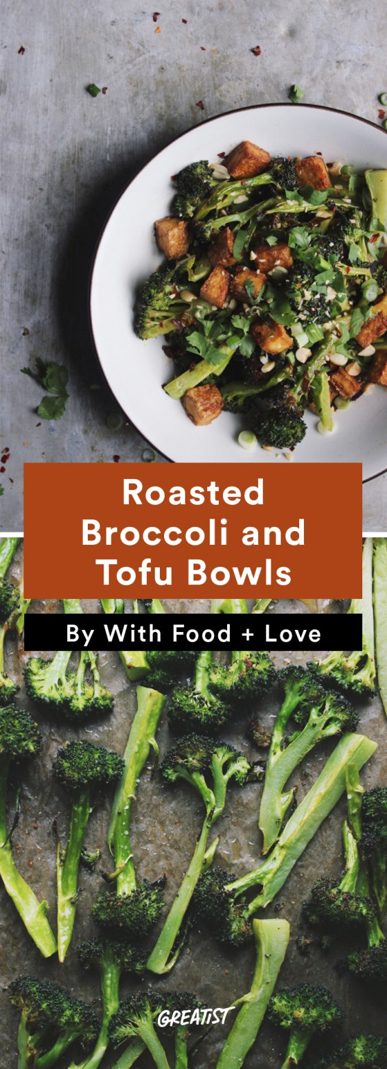 one tray veg din: Roasted Broccoli and Tofu Bowls