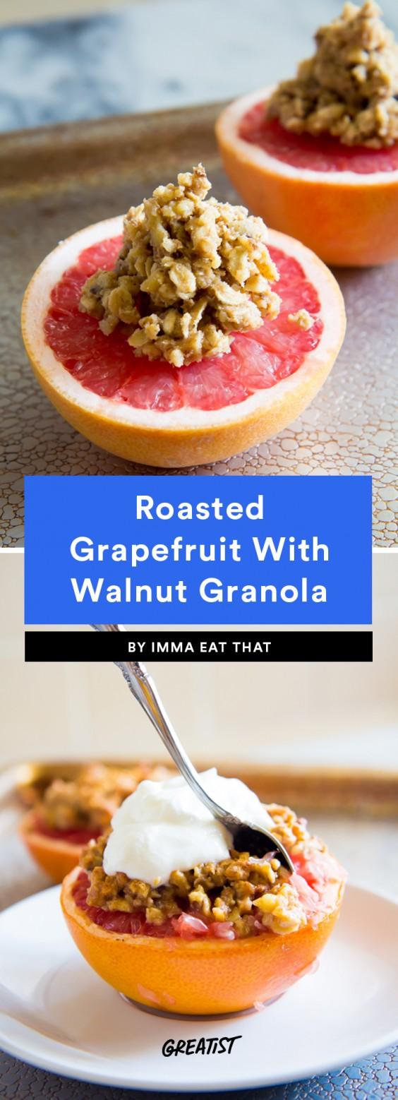 Roasted Grapefruit With Walnut Granola Recipe
