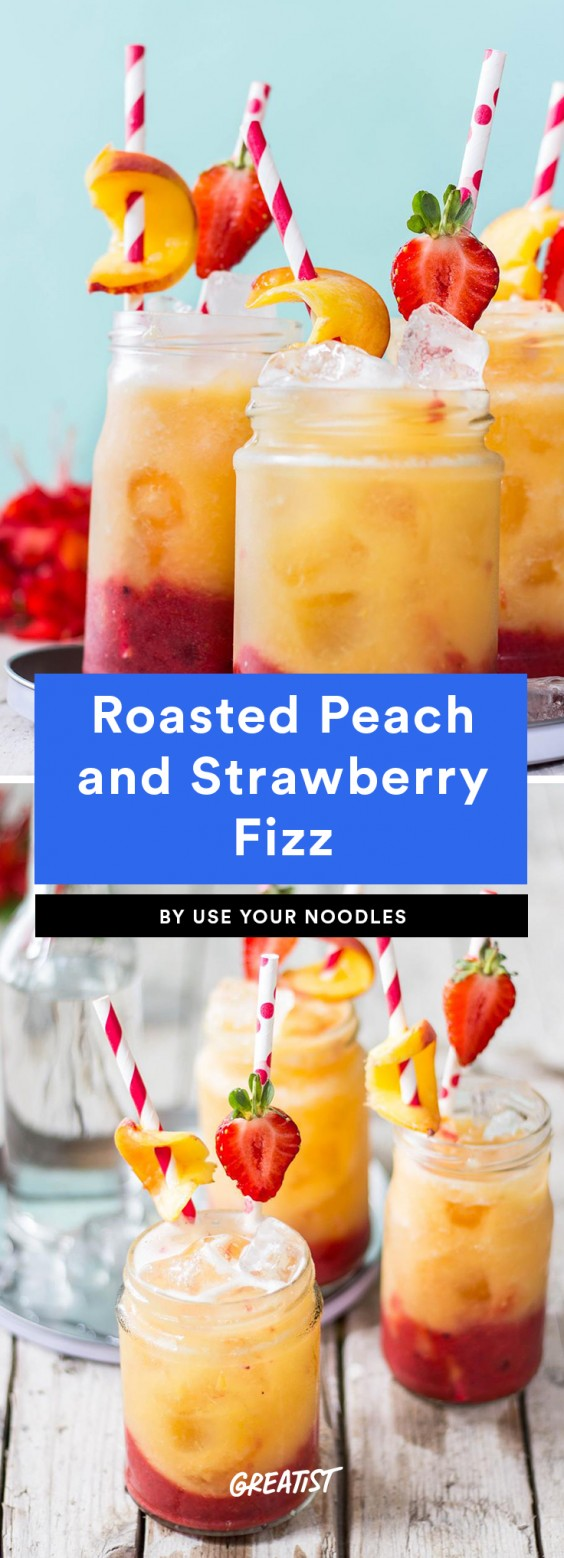 Roasted Peach and Strawberry Fizz