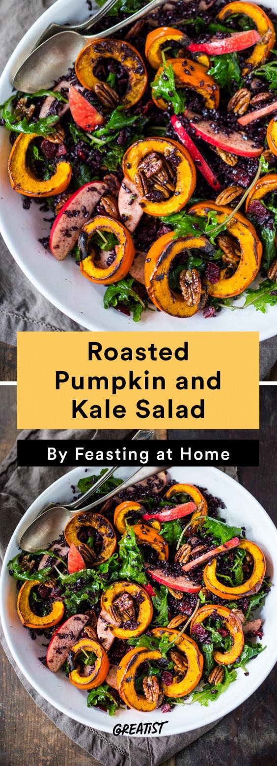 warm salads: Roasted Pumpkin and Kale Salad