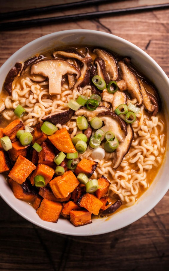 Veggie Ramen with Ramen Sweet Potatos