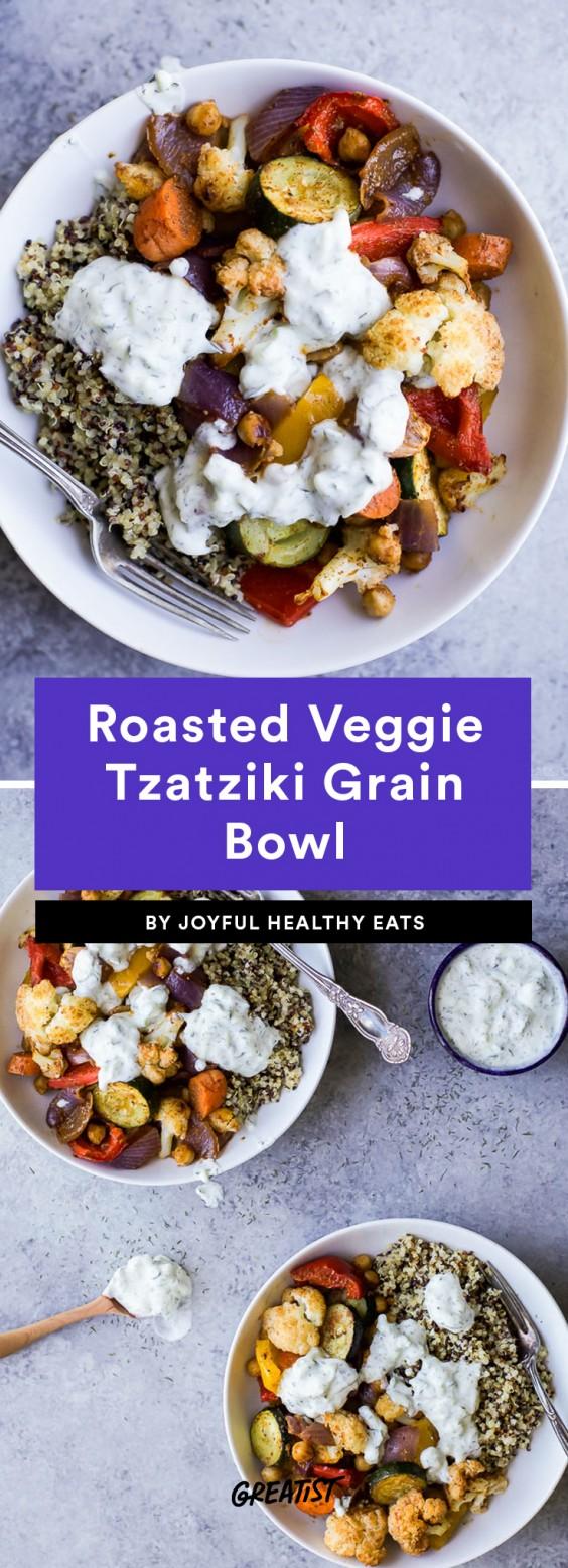 Roasted Veggie Tzatziki Grain Bowl
