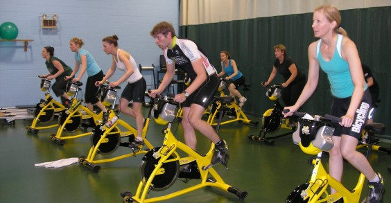 Rodale Employees at Spin Class