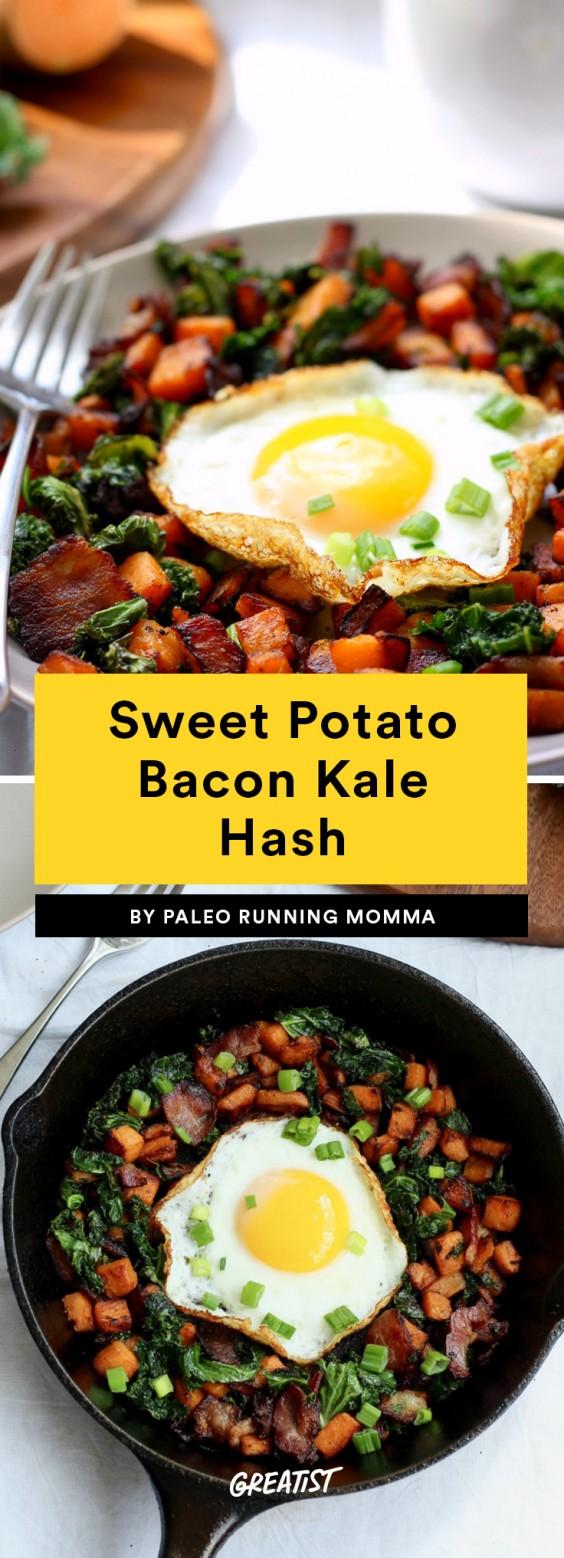 Sweet Potato Bacon Kale Hash