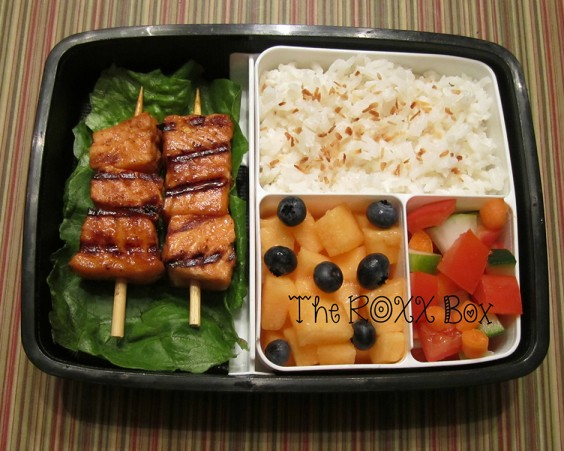 Thai Salmon Skewers With Coconut Rice Bento