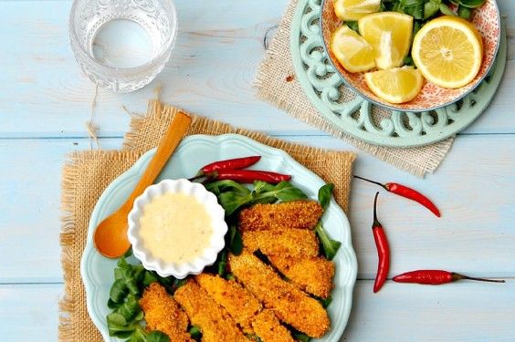 41 Guilt-Free Super Bowl Snacks: Cornmeal Parmesan Crusted Salmon Fingers