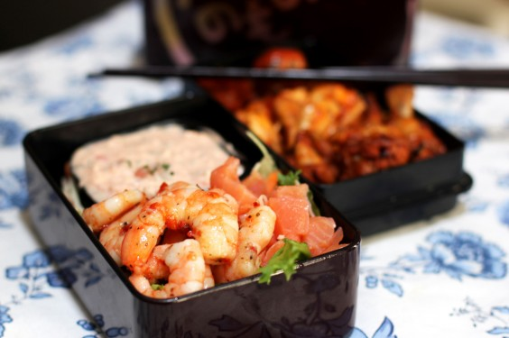 32 Healthy and Eye-Catching Bento Box Lunch Ideas: Salmon and Marinated Shrimp Salad