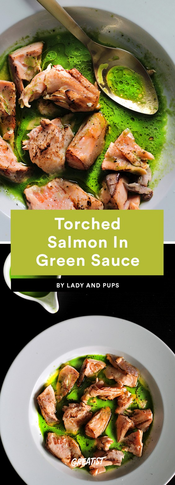Torched Salmon in Green Sauce