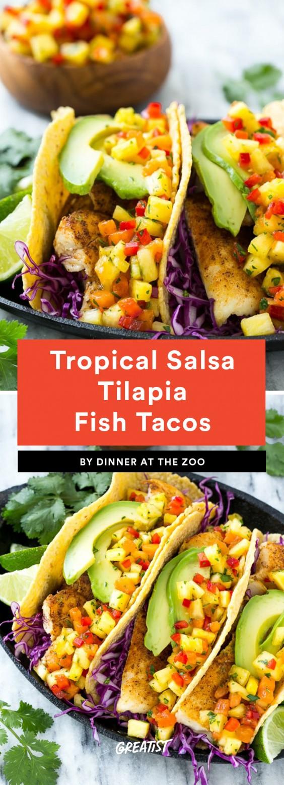 Tropical Salsa Tilapia Fish Tacos