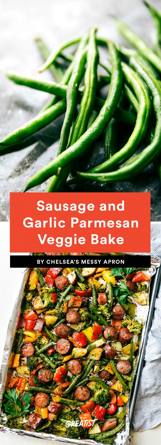 Sausage and Garlic Parmesan Veggie Bake Recipe