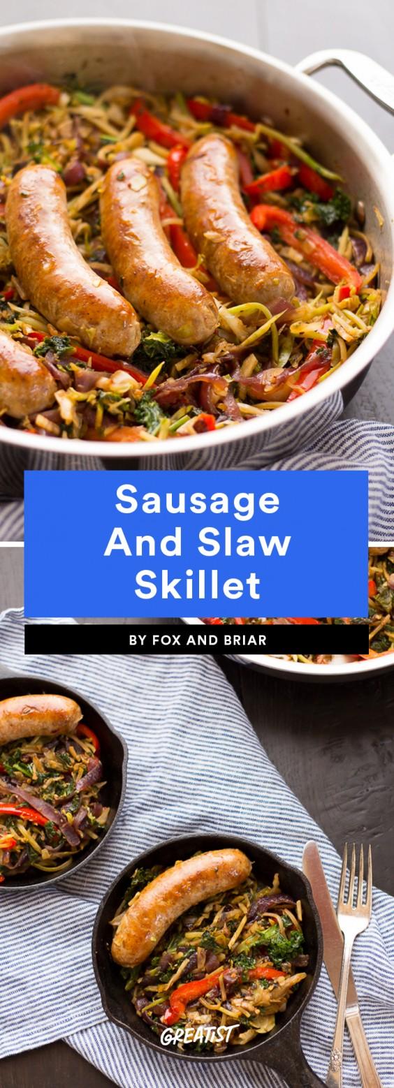 Sausage and Slaw Skillet
