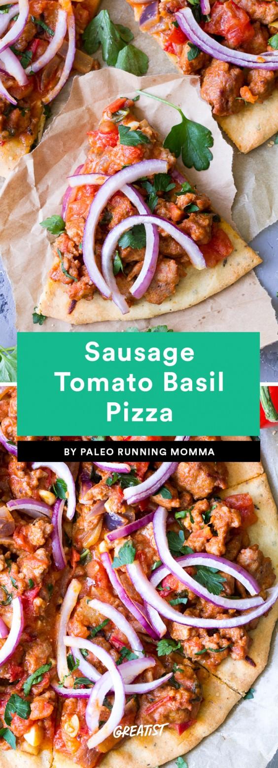 Sausage Tomato Basil Pizza